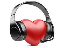 Coeur rouge avec les écouteurs et le microphone Image libre de droits