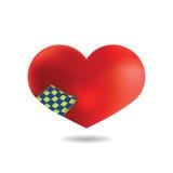 Coeur rouge avec une correction, sur le fond blanc, vecteur Images stock