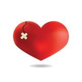 Coeur rouge avec une fente, sur le fond blanc, vecteur Photographie stock libre de droits