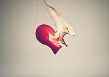 Coeur rouge brûlé Image stock