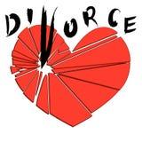 Coeur rouge cassé sur un fond blanc Concept - divorce, Image libre de droits