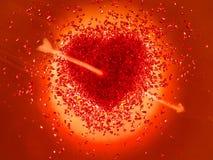 Coeur rouge chaud percé avec une flèche Image libre de droits