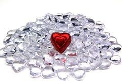 Coeur rouge, coeurs en cristal image libre de droits