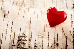 Coeur rouge coloré de valentines sur l'écorce naturelle Images libres de droits