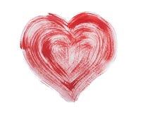 Coeur rouge coloré tiré par la main d'aquarelle d'aquarelle Image libre de droits