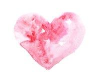 Coeur rouge coloré tiré par la main d'aquarelle d'aquarelle Photos libres de droits