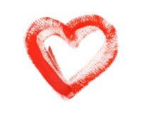 Coeur rouge coloré tiré par la main d'aquarelle d'aquarelle Images libres de droits