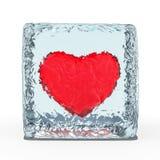 Coeur rouge congelé en glace 3d illustration stock
