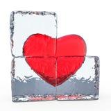 Coeur rouge congelé en glace 3d illustration libre de droits