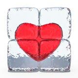 Coeur rouge congelé en glace 3d illustration de vecteur