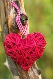 Coeur rouge décoratif accrochant sur l'arbre dans le jardin Déclaration de l'amour le jour du ` s de Valentine, Photographie stock libre de droits