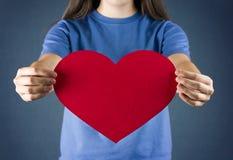 Coeur rouge d'amour avec l'espace à écrire Images libres de droits