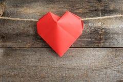 Coeur rouge d'origami Photographie stock libre de droits