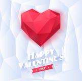 Coeur rouge d'origami sur le fond blanc avec l'ombre Images stock