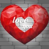 Coeur rouge d'origami sur le fond clair des briques Polygo abstrait illustration de vecteur