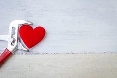 Coeur rouge dans des pinces en métal Photos stock