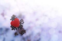 Coeur rouge dans la perspective de neige Images stock