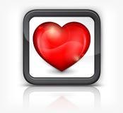 Coeur rouge dans le bouton carré Images libres de droits