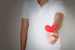 Coeur rouge dans les mains de l'homme, la médecine de santé et le concep de charité Photos libres de droits