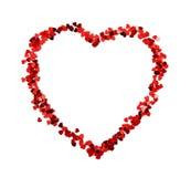 Coeur rouge de confettis Photo stock