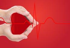 Coeur rouge de couverture de main et cardiographe normal photographie stock