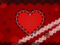 Coeur rouge de dentelle sur le fond pointillé par rouge foncé illustration libre de droits