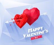 Coeur rouge de deux origamis sur le fond blanc avec Image stock