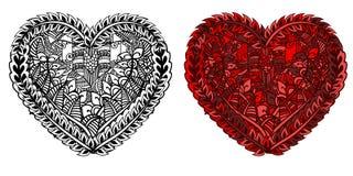 Coeur rouge de jour de valentines avec le modèle ethnique de griffonnage Photographie stock libre de droits