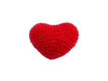 Coeur rouge de knit de crochet d'isolement Photo libre de droits