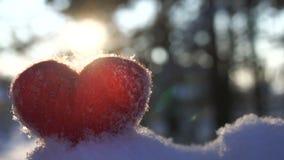 Coeur rouge de laine de jouet sur la neige et éclairé à contre-jour par le mouvement lent de coucher de soleil d'hiver banque de vidéos