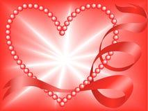 Coeur rouge de perle Photo libre de droits