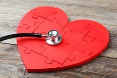 Coeur rouge de puzzle Images libres de droits