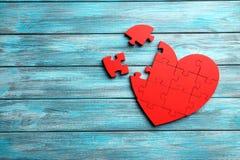 Coeur rouge de puzzle Photos libres de droits