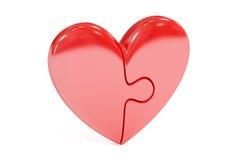 Coeur rouge de puzzle, rendu 3D Photos stock