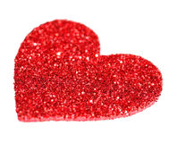 Coeur rouge de scintillement d'isolement sur le blanc. Jour de valentines Photographie stock libre de droits