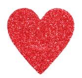 Coeur rouge de scintillement d'isolement sur le blanc. Jour de valentines Photos stock