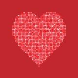 Coeur rouge de scintillement d'isolement sur le fond Illustration de vecteur Concept d'amour Papier peint mignon Bonne idée pour  Photo stock