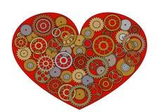 Coeur rouge de Steampunk Photos libres de droits