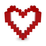 Coeur rouge de valentine fait de Lego Blocks Photo stock
