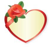 Coeur rouge de vecteur avec rose et l'ombre Image libre de droits