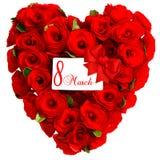 Coeur rouge des fleurs roses avec carte le 8 mars blanc Images stock