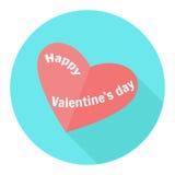 Coeur rouge en cercle bleu graphisme Illustration plate de vecteur de conception avec la longue ombre Symbole heureux de jour de  Photos libres de droits