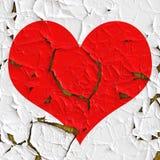 Coeur rouge en tant que vieil aluminium Photos libres de droits