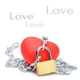 Coeur rouge enchaîné Images libres de droits