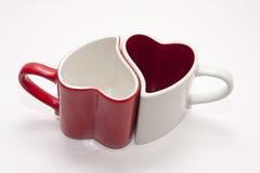 Coeur rouge et blanc de cuvette Photographie stock libre de droits