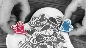 Coeur rouge et bleu drôle contrairement à noir et blanc Photos libres de droits