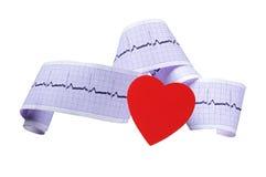 Coeur rouge et cardiogramme d'isolement sur le blanc Images stock