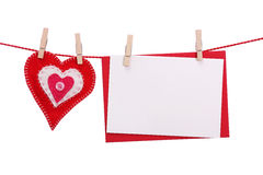 Coeur rouge et carte vierge Images libres de droits