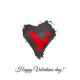 Coeur rouge et gris d'aquarelle de vecteur Gree heureux de jour du ` s de Valentine Photo libre de droits