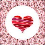 Coeur rouge et petits coeurs autour Fond de jour de valentines avec beaucoup de coeurs Image libre de droits
